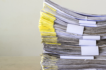 Documents piled