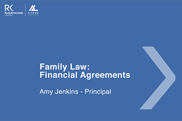 Family Law - Financial Agreements - Cover page -360x240